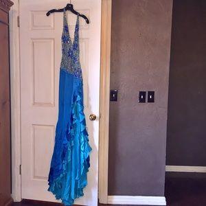 Custom Sherri Hill blue beaded pageant gown